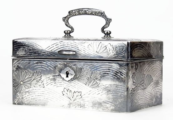 ANTIQUE CONTINENTAL STERLING SILVER JEWELRY BOX
