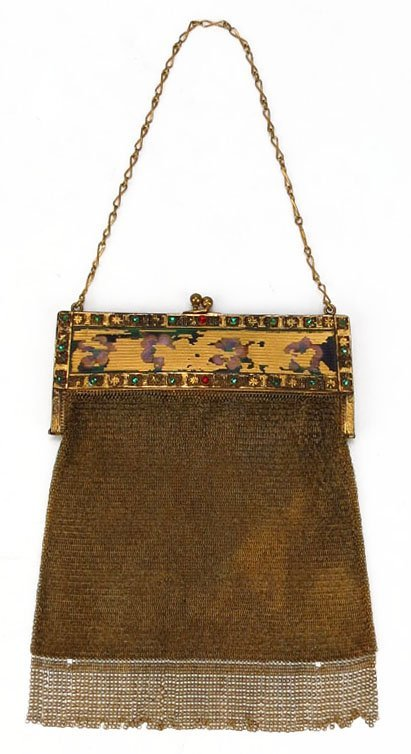 VICTORIAN GOLD MESH AND JEWELED LADIES PURSE