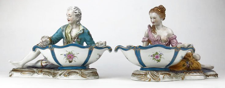MEISSEN HUGE PAIR OF SWEET MEATS