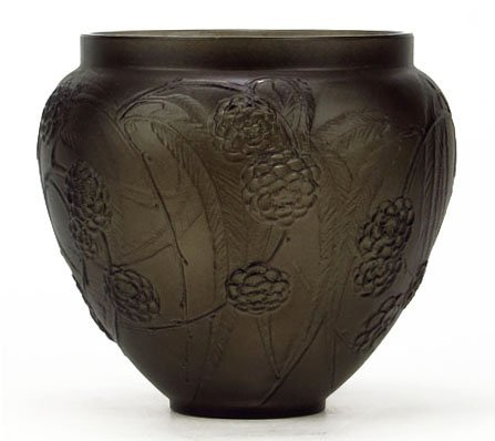 RENE LALIQUE 1930'S GREY STAINED FLORAL VASE