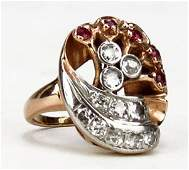 14 KT RETRO ROSE GOLD RING WITH RUBIES AND DIAMONDS