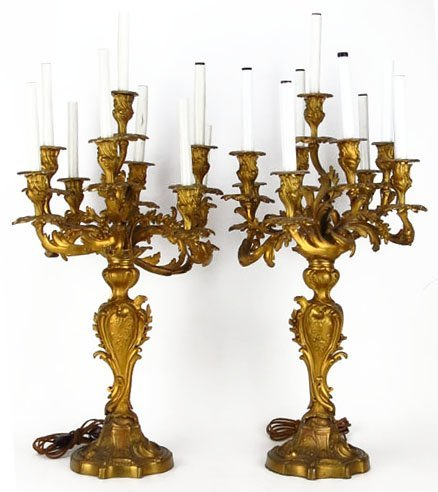 Important Pair Of Antique Bronze Candelabra