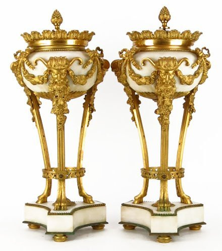 PAIR OF 19TH CENTURY BRONZE AND MARBLE CASSOULETTES