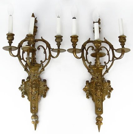 PAIR OF ANTIQUE BRONZE SCONCES