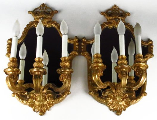 PAIR OF ANTIQUE FRENCH BRONZED MIRRORED SCONCES