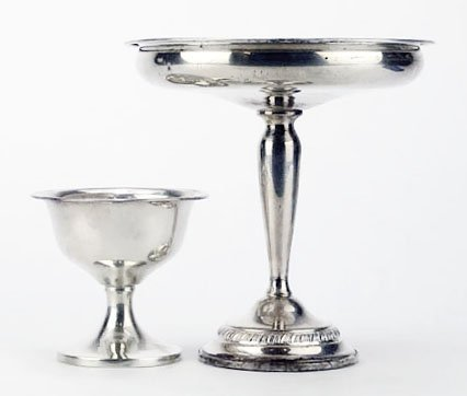 TWO STERLING SILVER COMPOTE
