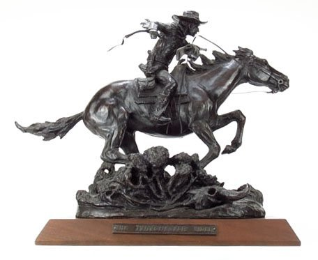 """LARGE BRONZE TITLED """"THE WINCHESTER RIDER"""""""
