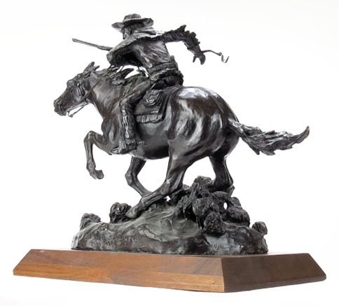 """LARGE BRONZE TITLED """"THE WINCHESTER RIDER"""" - 2"""
