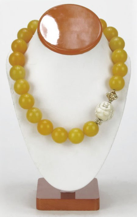 VINTAGE CHINESE YELLOW JADE AND IVORY NECKLACE