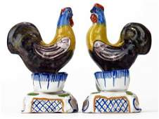 PAIR ON ANTIQUE FRENCH FAIENCE PORCELAIN ROOSTERS