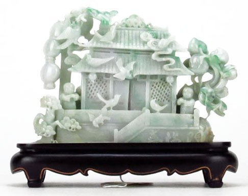 Chinese Carved Pale Celadon to Celadon Jade Sculpture G
