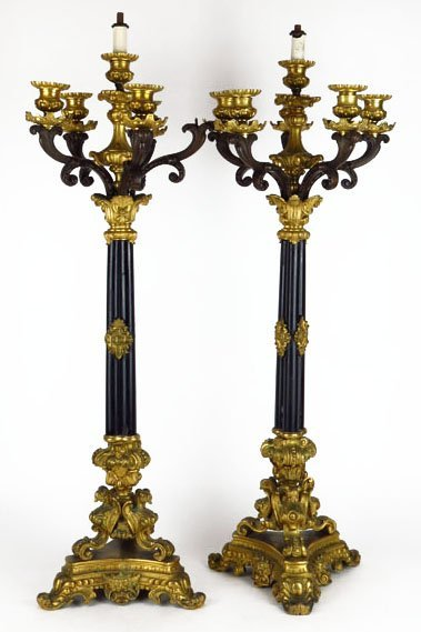 EXTRAORDINARY PAIR OF NAPOLEONIC ANTIQUE DORE BRONZE CA