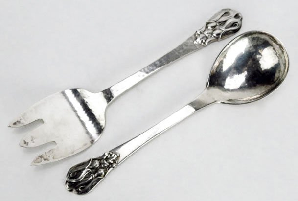 HEAVY PETERSEN STERLING SILVER SALAD SET