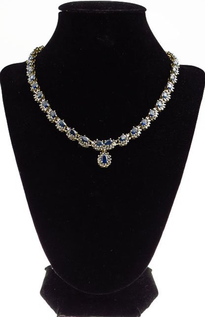 BEAUTIFUL SAPPHIRE DIAMOND 14KT YELLOW GOLD NECKLACE 21