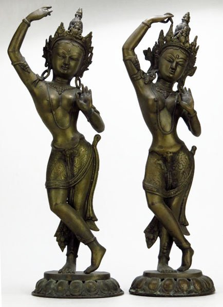 PAIR OF ANTIQUE THAI NUDE BRONZES