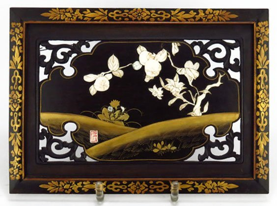 ANTIQUE SHIBYAMA IVORY INLAY PLAQUE.