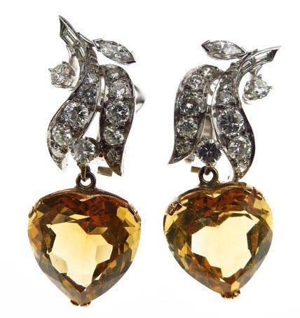 EXTRAORDINARY 18KT WHITE GOLD DIAMOND AND CITRINE EARRI