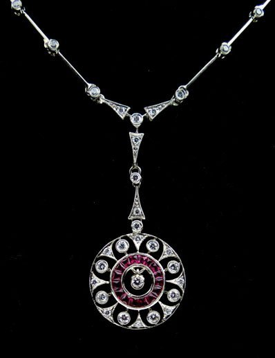 18KT DECO FRENCH CUT RUBY AND DIAMOND NECKLACE