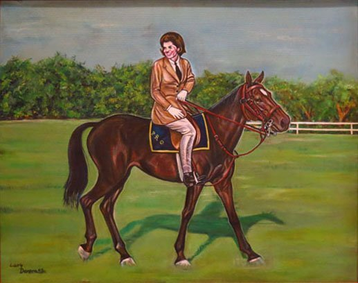 LARGE OIL ON CANVAS OF JACQUELINE KENNEDY BY LARRY DENS