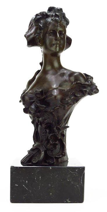 "ART NOUVEAU BRONZE BUST OF WOMAN ""TORETEY"""