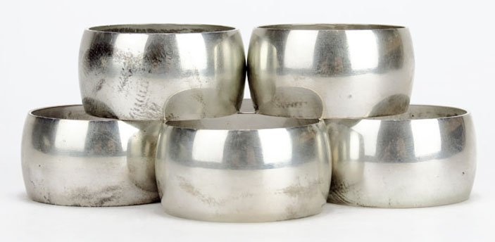 TIFFANY & CO. SET OF 6 STERLING ANTIQUE NAPKIN RINGS