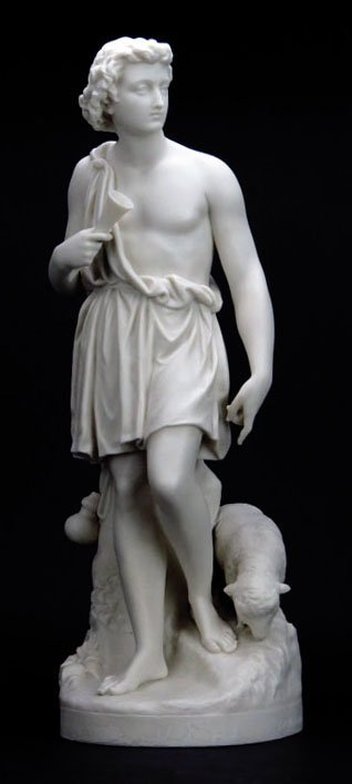 19TH CENTURY FRENCH PARIAN STATUE OF A YOUNG SHEPHERD.