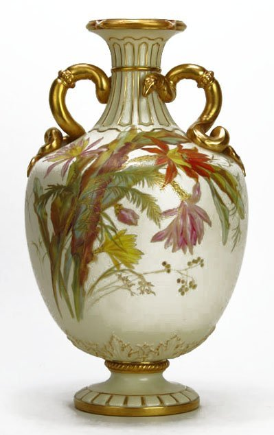 ANTIQUE LARGE AND IMPORTANT ROYAL WORCESTER VASE WITH