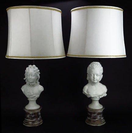 PAIR OF ANTIQUE SEVRES BLANC DE CHINE STATUE LAMPS
