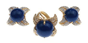 18KT YELLOW GOLD LAPIS AND DIAMOND EARRING AND RING
