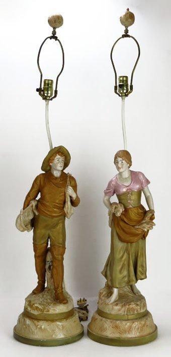 PAIR OF ANTIQUE ROYAL DUX FIGURAL LAMPS