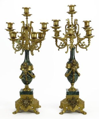 PAIR OF CONTINENTAL BRONZE AND MARBLE CANDELABRAS