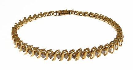 LADIES 14KT YELLOW GOLD TENNIS BRACELET