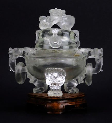 IMPORTANT ANTIQUE CHINESE ROCK CRYSTAL CENSER