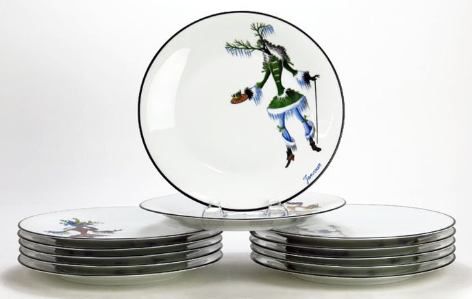 SET OF 12 VIGNAUD LIMOGES MASQUERADE MONTHLY CHARGERS