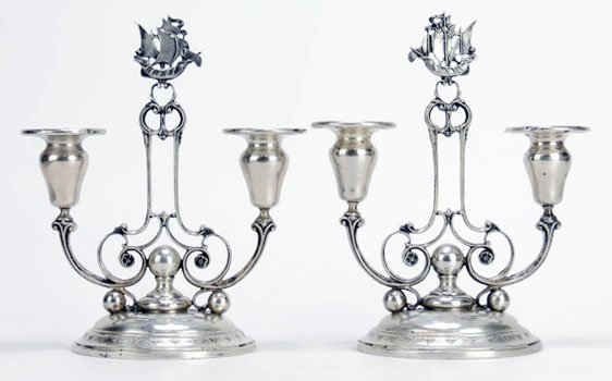 PAIR SEVILLE STERLING CANDLESTICKS DATED 1927
