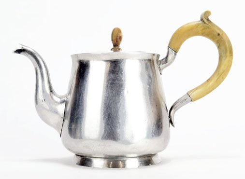 ANTIQUE RUSSIAN STERLING AND IVORY TEA POT