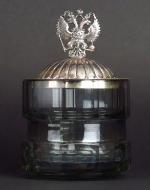 RUSSIAN IMPERIAL SILVER LID ON MOSER BASE