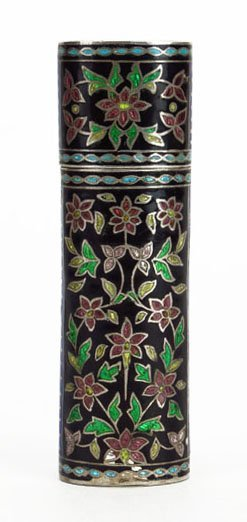 ANTIQUE RUSSIAN ENAMELED COVERED CONTAINER