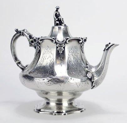 RARE 19TH CENTURY ENGLISH ORIENTALIST STERLING TEA POT