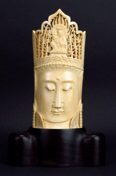 ANTIQUE CHINESE LARGE IVORY QUAN YIN WITH BUDDHA