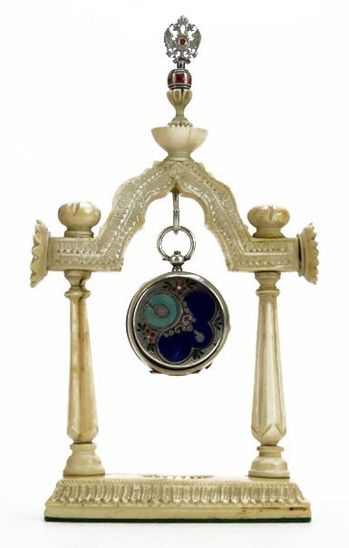 19TH CENTURY RUSSIAN ENAMELED WATCH WITH IVORY HOLDER A