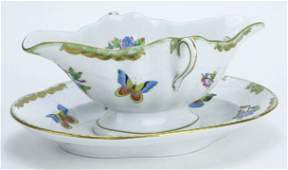 HEREND LARGE QUEEN VICTORIA GRAVY BOAT WITH UNDER PLATE