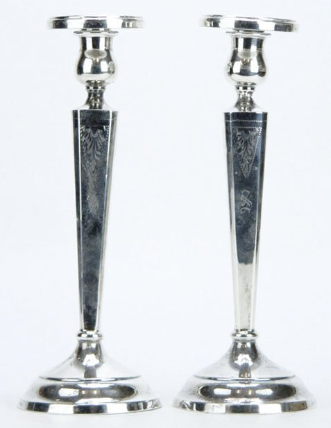 PAIR OF STERLING ENGRAVED CANDLESTICKS