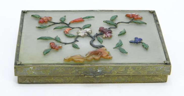 FINE CHINESE CAST METAL BOX WITH JADE, CARNELIAN, CORAL
