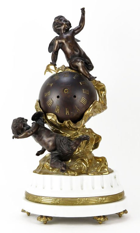 Large 20th Century Bronze  Figural Clock with Globe &