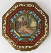 Gorgeous Art Nouveau Enameled Enamel Compact with Hand