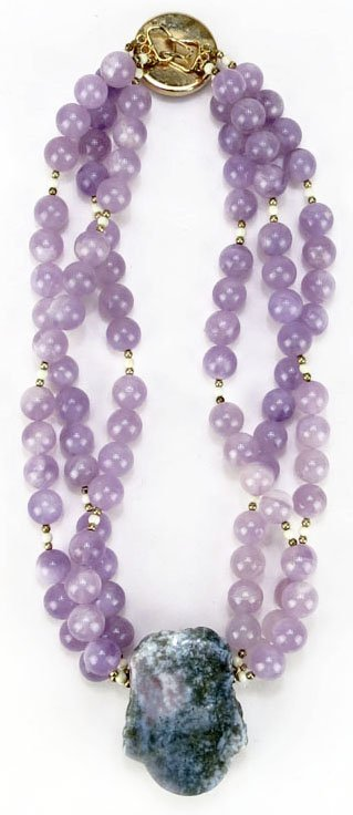 VINTAGE CHINESE FANCY AMETHYST AND IVORY NECKLACE Three