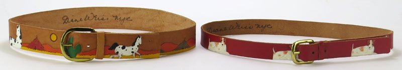 Two (2) Signed Dianne Weiss Tooled Leather Childrens