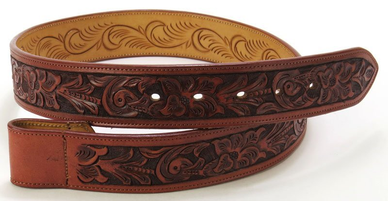 Polo Ralph Lauren Signed Tooled Leather Belt. Size 32