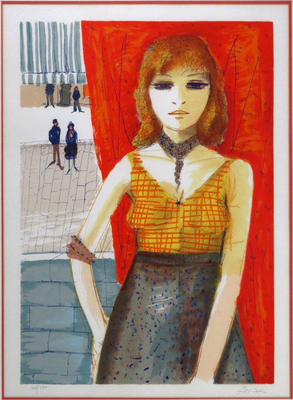 """Charles Levier (FRENCH, 1920-2003) Lithograph """"young"""